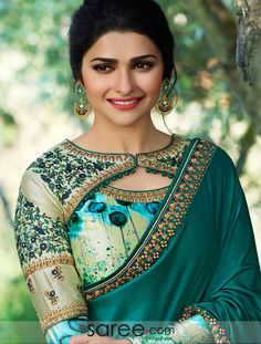 Prachi Desai Green Satin Silk Plain Saree With Designer Blouse. Not the typical saree. Prachi Desai Green Satin Silk Plain Saree With Designer Blouse. Not the typical saree. Saree Blouse Neck Designs, Fancy Blouse Designs, Choli Designs, Dress Neck Designs, Latest Blouse Designs, Plain Kurti Designs, Churidar, Anarkali, Lehenga