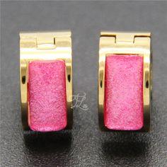 Free Shipping Wholesale Brand New Design Women Girl Stainless Steel Gold Plated Bling Crystal Resin Huggie Hoop Earrings