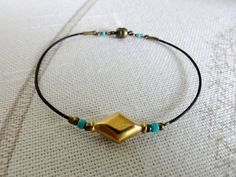 Brass Leather Turquoise Bracelet by baublesbybethann on Etsy, $16.50