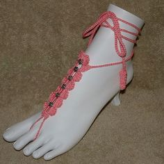 Barefoot Sandals  Hand Crocheted  Pink with by gilmoreproducts33, $13.00