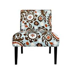 Portfolio Niles Brown/ Blue Floral Medallion Armless Chair - Would be great in my new bedroom! Living Room Turquoise, Living Room Orange, Home Living Room, Living Room Decor, Living Spaces, New Home Wishes, Deep Seat Cushions, Blue Couches, House Inside