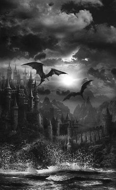 """darkness-withinme: """"Dragon's Castle. Foto Fantasy, Gothic Fantasy Art, Fantasy World, Gothic Aesthetic, Slytherin Aesthetic, Black Aesthetic Wallpaper, Aesthetic Wallpapers, Image Halloween, Dark Castle"""