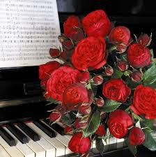 Image result for piano and flowers