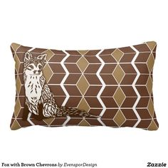 Fox with Brown Chevrons Pillows