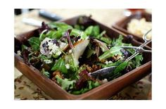Spring Greens with Pears, Sugared Walnuts and Gorgonzola.  This fabulous salad recipe is perfect for spring. Use pecans or walnuts, gorgonzola or your favorite blue cheese!