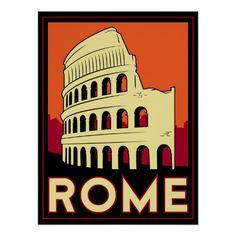 vintage travel posters   rome italy coliseum europe vintage retro travel posters