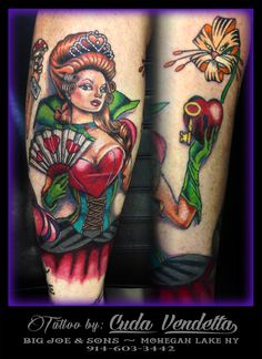 TATTOOS BY CUDA VENDETTA  Added The Queen of Hearts to Karen Kay's Alice in Wonderland themed leg! A little more background work and she'll be done!  - BIG JOE & SON'S TATTOO - MOHEGAN LAKE NY 914-603-3442 Joe Son, Tattoo For Son, Color Tattoos, Queen Of Hearts, Alice In Wonderland, Big, Color Tattoo