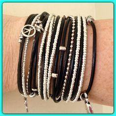 Boho Bracelet, Wrap Bracelet, Endless Black Leather Triple Wrap Bracelet with Silver Accents and Metallic Silver Miyuki Beads