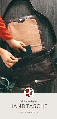 58bf71cb4c34c Hamosons – Damen-Handtasche Größe M   Umhängetasche im Retro-Look aus  geöltem Leder