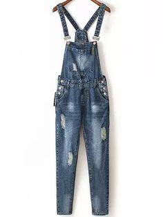 Blue Strap Ripped Bleached Denim Jumpsuit