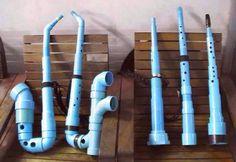 Instrumentos musicais com tubos PVC.
