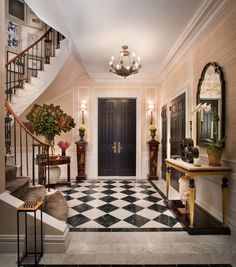 Showhouse Gallery • Grasscloth Wallpaper • Natural Wallcoverings • Phillip Jeffries Ltd.  staircase, floring, black doors, love it all