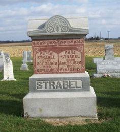 Peter & Dora Strabel, Zion Lutheran Cemetery, Mercer County, Ohio. (2011 photo by Karen) #genealogy