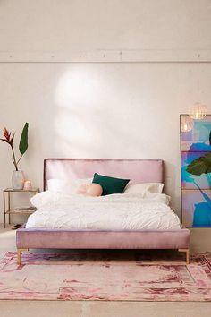 Urban Outfitters Rosalie Velvet Platform Bed