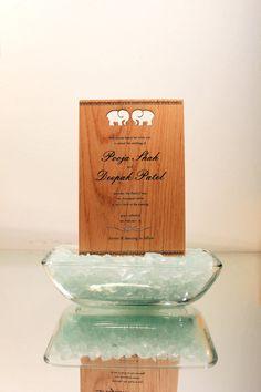 Wood Wedding Invitation: Indian Elephant by cardtorial Wood Wedding Invitations, Invites, Wedding Times, Indian Elephant, Elephant Wedding, Place Card Holders, Handmade Gifts, Etsy, Ideas