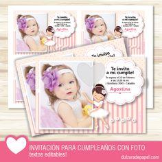 Invitacion bailarina para imprimir personalizada con foto #imprimible #kit #invitacion #cumpleaños #bailarina