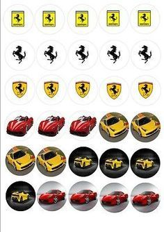 30 x Ferrari Cars Mixed Images Edible Cup Cake Toppers 108 Car Themed Parties, Cars Birthday Parties, Boy Birthday, Ferrari Cake, Ferrari Party, Karting, Alfa Romeo, Cupcakes For Boys, Car Cupcakes