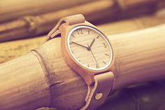 Bamboo watch with nude leather strap, from Bamboo Revolution. on Hello Pretty. Green Fashion, I Love Fashion, Mens Fashion, South African Design, African Textiles, Beautiful Watches, Watches For Men, Men's Watches, Revolution