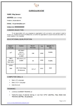 2 Page Resume Format Curriculum Vitae Template  Google Search  Resumes  Pinterest