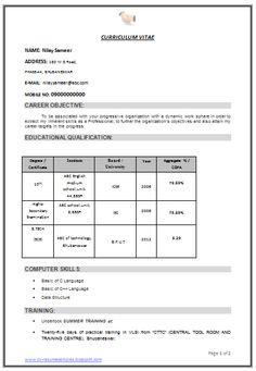 Best Resume Format For Freshers Engineers | niveresume | Pinterest ...