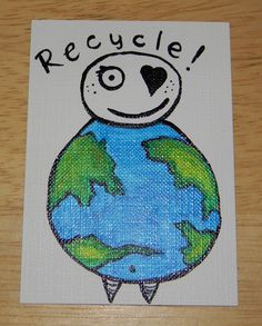 Recycle - Earth Man - ACEO - Artist Trading Card - Mini Painting