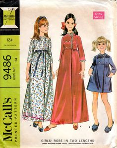 1960s Girls Empire Waist Robe Pattern - Vintage McCall's 9486 - Size 14 Bust 32 by ErikawithaK on Etsy