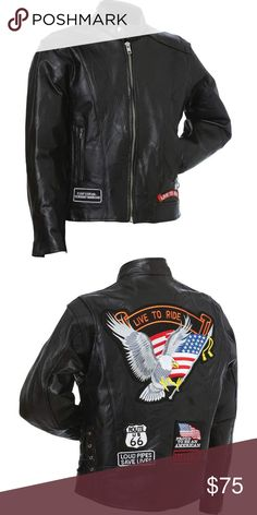 Rock Genuine Buffalo Leather Motorcycle Jacket The Diamond Plate™ Rock Design Genuine Buffalo Leather Motorcycle Jacket is a perfect example of classic riding gear Genuine buffalo leather construction and a Nehru collar Zippered wrist closures, zip front, and a nylon lining The Live to Ride® embroidered cloth patches are sewn in place for you for instant, ready to wear right out of the box Wear with pride and be road ready, no matter what comes at you The Diamond Plate™ Jackets & Coats…