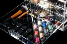 The X Divider is useful If you wish to section off certain cosmetics. Acrylic Makeup Storage, Perfume Tray, Nespresso, Divider, Cosmetics, Crystals, Products, Beauty Products, Crystal