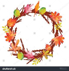 The watercolor illustration of branch and leaves wreath in warm colors of autumn, with place for quotes in the middle.