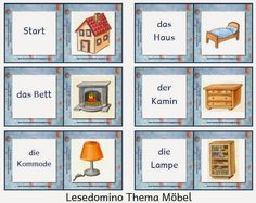 Drachenstübchen: Achtung: Lese-Domino Möbel vereinfachte Version Learn German, Primary School, Teaching Kids, Kindergarten, Gallery Wall, Learning, Holiday Decor, Diy, Florian