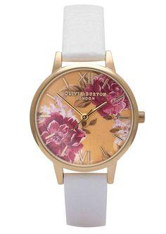 Olivia Burton Wonderland Flower Show Watch - White & Floral in To-Be-Confirmed