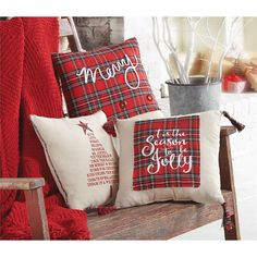 Tartan Christmas Pillow - Tree - Overview: Linen canvas pillow featuring printed Christmas sentiment Details: Size: 14 x 14 Tartan Christmas, Christmas Cushions, Christmas Sewing, Christmas Pillow, Christmas Projects, Christmas Ideas, Christmas Bedroom, Christmas Porch, Rustic Christmas