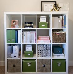 IKEA office shelving- but way manlier. Get in grey