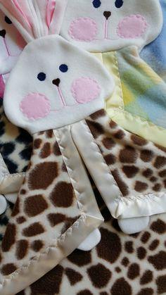 Giraffe animal print Bunny puppet lovey blanket by SuziesImaginarium on Etsy