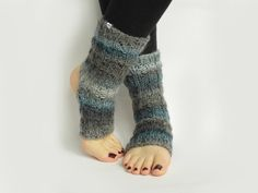knitted blue grey yoga, dancer, pilates socks by from mela with love