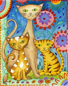 Cat Family - Don't Let The World Of Cats Confuse You. Read This Expert Advice Today! - Cat and Kittens Illustrations, Illustration Art, Wal Art, Frida Art, Cat Quilt, Cat Colors, Cat Crafts, Cat Drawing, Whimsical Art