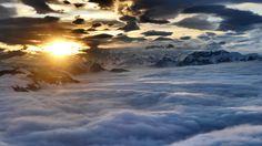 Erde/Natur Wolke Österreich Gebirge Sonnenuntergang Luftbildfotografie Evening Wallpaper