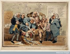 Five surgeons participating in the amputation of a man's leg while another oversees them. 1793