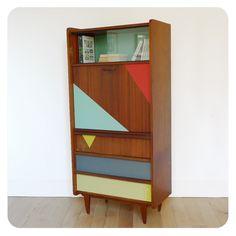 Secretaire vintage 3 tiroirs, revisité tout en couleur