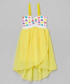 Love this Yellow Heart Hi-Low Tank Dress - Toddler & Girls by Littoe Potatoes on #zulily! #zulilyfinds