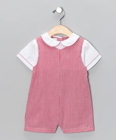 Look at this #zulilyfind! Red Gingham Layered Shortalls - Infant by Petit Pomme #zulilyfinds