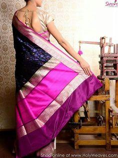 Blaci cutwork saree with meenedar jaal from Seasons, Varanasi