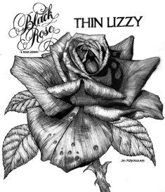 Thin Lizzy Black Rose Album Cover Original by JimFitzPatrickArtist, $49.95