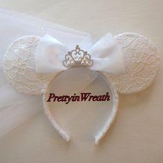 Bride inspired Mickey Mouse ears headband by PrettyinWreath