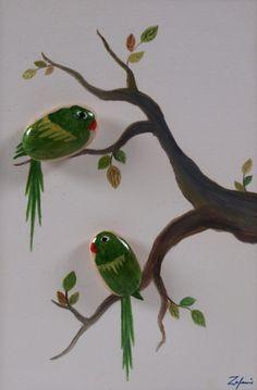 Weiteres - Kunstverstecke Steinbild Motiv: Papageienpaar grün - ein Designerstück von Ztone bei DaWanda
