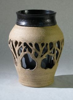 Daniel E. Borup 2 walled Brown Forest Vase