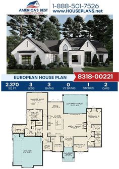 Introducing this jaw-dropping European design, offering 2,370 sq. ft., 3 bedrooms, 3 bathrooms, the split bedroom concept, an office, and a side entry garage. Learn more about Plan 8318-00221 on our website today! Ranch Style Floor Plans, Cottage Floor Plans, Lake House Plans, Ranch House Plans, Best House Plans, House Floor Plans, European Plan, European House Plans, Big Houses