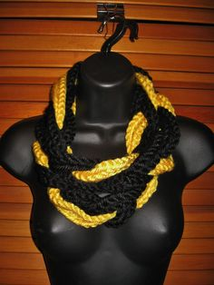 Black and Yellow Infinity Scarf  Pittsburg by TheLittleBarntique