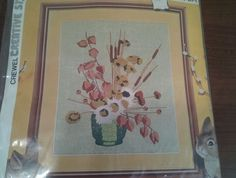 "Crewel Creative Stitchery Kit ""Japanese Lanterns"" Vintage 1975 Embroidery #878A"