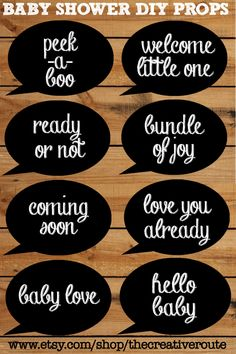 Photo Booth Props for Baby Shower - Printable 8 page PDF with large printable photobooth props chalk board by TheCreativeRoute on Etsy https://www.etsy.com/listing/200878355/photo-booth-props-for-baby-shower